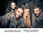 happy group of friends having... | Shutterstock . vector #792144907