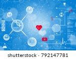 2d render of dna structure ... | Shutterstock . vector #792147781