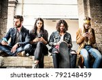 group of teenagers addicted to... | Shutterstock . vector #792148459