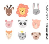 vector set with cute animal.... | Shutterstock .eps vector #792149047