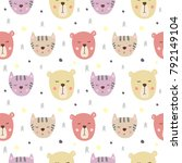 seamless pattern with cute... | Shutterstock .eps vector #792149104