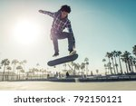 skater boy practicing at the... | Shutterstock . vector #792150121
