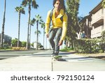 skater boy on the street in los ... | Shutterstock . vector #792150124