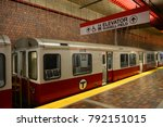 Small photo of BOSTON - OCT 3, 2013: Boston Metro (MBTA) Red Line stops at Alewife Station, Cambridge in Boston Massachusetts, USA.