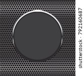 black glass button on metal... | Shutterstock .eps vector #792160687