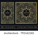 golden doodle mandala geometric ... | Shutterstock .eps vector #792162181