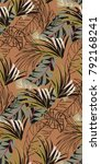 dark tropical vintage pattern... | Shutterstock .eps vector #792168241