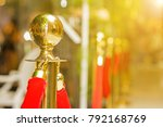 golden stanchions with a red... | Shutterstock . vector #792168769