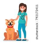 veterinarian doctor examining... | Shutterstock .eps vector #792172411
