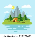 camping with mountains and... | Shutterstock .eps vector #792172429