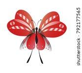 beautiful red butterflies ... | Shutterstock .eps vector #792177565