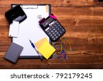 stationery and calculator.... | Shutterstock . vector #792179245