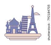 full color taj mahal and...   Shutterstock .eps vector #792184705