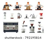barista and coffee equipment... | Shutterstock .eps vector #792195814