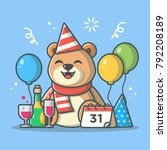 bear party for new year and... | Shutterstock .eps vector #792208189