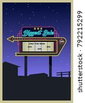 vector retro cinema signboard... | Shutterstock .eps vector #792215299