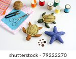 Starfish, turtle doll made ??of cloth. - stock photo