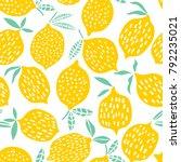 lemon seamless pattern vector... | Shutterstock .eps vector #792235021
