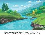 landscape mountain trees season ... | Shutterstock .eps vector #792236149