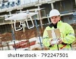 drone operated by construction... | Shutterstock . vector #792247501