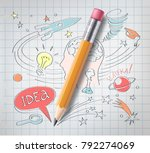 vector realistic pencil on... | Shutterstock .eps vector #792274069