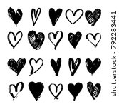 set of black hand drawn heart.... | Shutterstock .eps vector #792283441