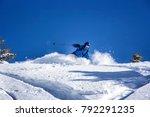 freerider skiing through fresh... | Shutterstock . vector #792291235