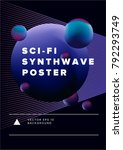 synthwave futuristic minimal... | Shutterstock .eps vector #792293749