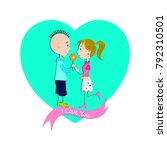 valentine's day card. adorable... | Shutterstock .eps vector #792310501