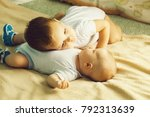two brothers cute babies blond...   Shutterstock . vector #792313639