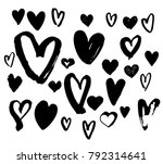 collection black hearts... | Shutterstock .eps vector #792314641