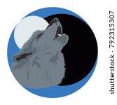 wolf head poster. dark. vector... | Shutterstock .eps vector #792315307