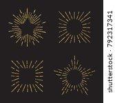 sunburst gold glitter hand... | Shutterstock .eps vector #792317341