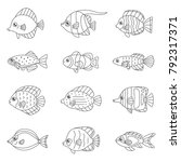 fish outline vector icon set ... | Shutterstock .eps vector #792317371