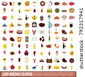 100 menu icons set in flat... | Shutterstock .eps vector #792317941