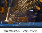 Small photo of Acetylene torch to cut through metal with sparks close up