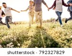 group of friends running... | Shutterstock . vector #792327829