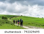 group walking the south downs...   Shutterstock . vector #792329695