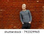 beautiful young teenager man... | Shutterstock . vector #792329965