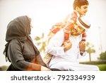 arabian family portrait in the... | Shutterstock . vector #792334939