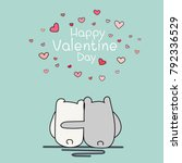 valentine day card  two cute... | Shutterstock .eps vector #792336529