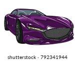 dark violet sport car mazda ...   Shutterstock .eps vector #792341944