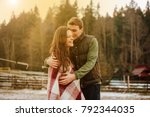 couple in love kissing laughing ...   Shutterstock . vector #792344035