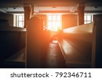 silhouette of man praying in... | Shutterstock . vector #792346711