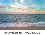 beautiful sunset on the coast... | Shutterstock . vector #792353731