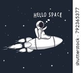 funny astronaut flying on... | Shutterstock .eps vector #792365377