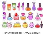 perfume  cosmetics  nail polish ... | Shutterstock .eps vector #792365524