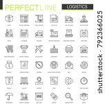 logistics thin line web icons... | Shutterstock . vector #792366025