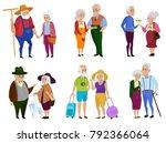 senior man and woman activities.... | Shutterstock . vector #792366064