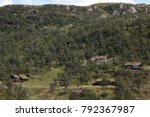 Mountains Cabins In Forest In...